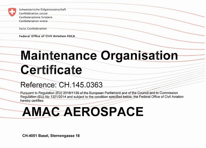 AMAC Aerospace: New approval for Gulfstream GVII (Gulfstream 500/600)